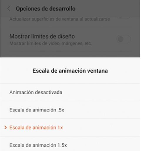 Baja o desactiva las animaciones y transiciones
