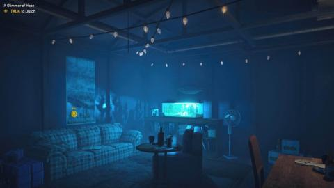 La ambientación de Far Cry 5 es muy realista, tal y como se muestra en esta imagen de un búnker.