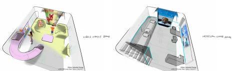 Diseño del espacio infantil y la enfermería del Airbus