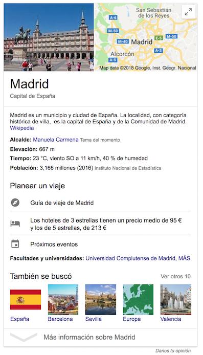 Google Knowledge Graph - Madrid como entidad