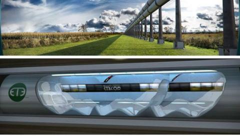 Una representación de Hyperloop por Hyperloop Transportation Technologies.