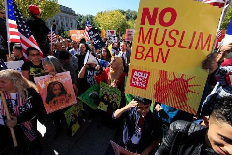 """manifestacion contra el """"muslim ban"""""""