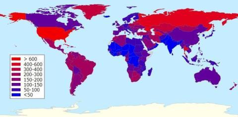 mapa de tasa de encarcelados por habitantes
