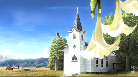 Esta pantalla de carga de Far Cry 5 cuenta con una de las muchas iglesias esparcidas por todo el Condado de Hope.