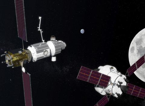 An artist's concept of NASA's Deep Space Gateway (left) space station near the moon.