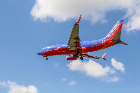 Un avión de la aerolínea estadounidense Southwest airlines