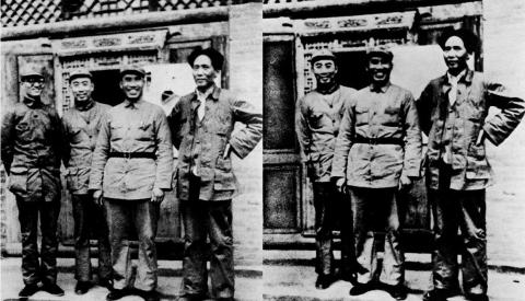 Bo Gu, far left, appears in the photo with Mao Zedong and comrades; in the later photo, he is missing.
