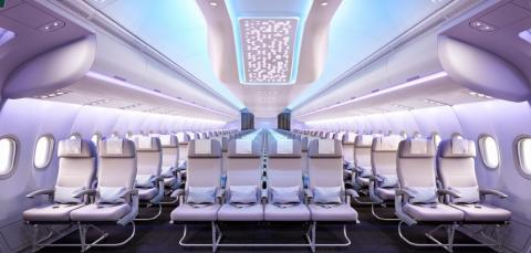 The cabin of a next generation Airbus A330neo.