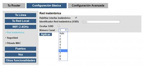 Configuración red SSID