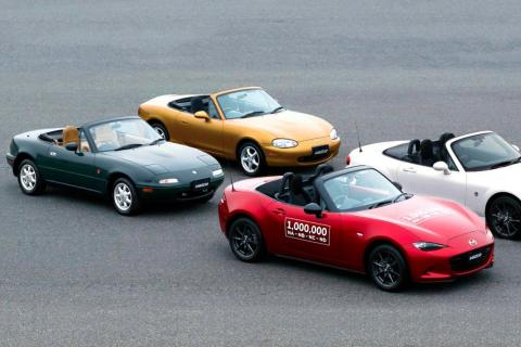 Las cuatro generaciones del Mazda MX-5.