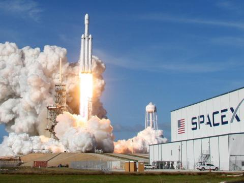 The first Falcon Heavy rocket lifted off in February 2018.