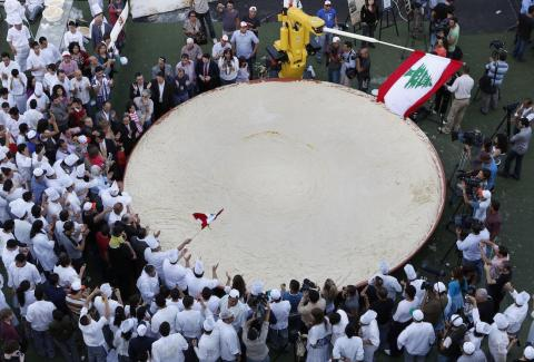 Lebanese chefs prepared a record-breaking bowl of hummus in 2010 that weighed in at 22,046 pounds (10,452 kilograms.)