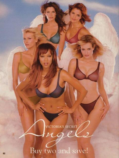 """Around this time (1997), the idea of the Victoria's Secret """"Angel"""" came into play after a commercial featuring Helena Christensen, Karen Mulder, Daniela Peštová, Stephanie Seymour, and Tyra Banks ran to promote its """"Angels"""""""