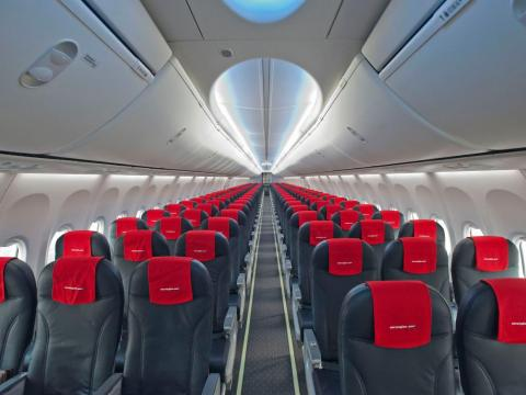 Inside a Norwegian Air Boeing 737.
