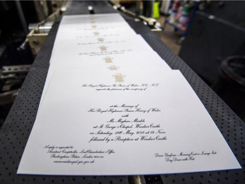 Invitations and wedding favors — $290,800 (£203,000). Kensington Palace announced in March that British printing company Barnard and Westwood made the invitations featuring the Prince of Wales badge printed in gold ink. The