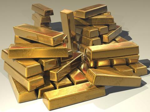 Lingotes de oro, riqueza, rico, lujo