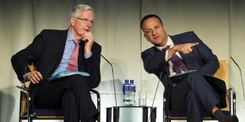 Michel Barnier, the European Union's chief Brexit negotiator, and Ireland's Taoiseach Leo Varadkar attend an all All-Island Civic Dialogue on Brexit in Dundalk, Ireland, April 30, 2018.
