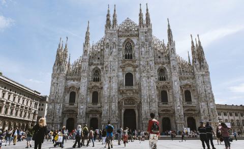 La plaza del Duomo, en Milán.