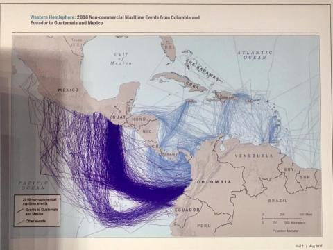 Suspected trafficking routes between northern South America and northern Central America, detected in 2016.