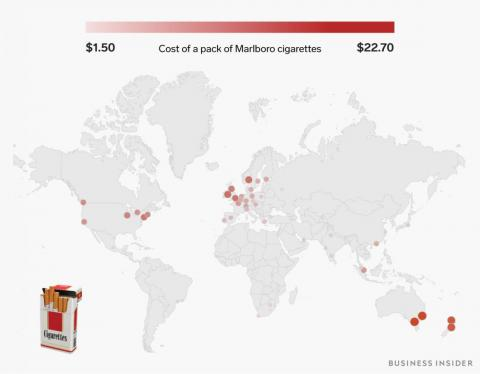 A pack of Marlboro cigarettes ranges from $1.50 to over $22.