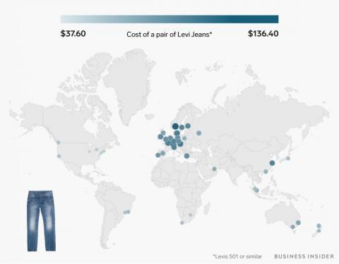A pair of Levi's jeans costs between $37 and $136.