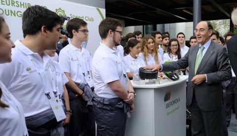 El presidente de Iberdrola, Ignacio Galán, en la feria de Innovación de Iberdrola donde se ha presentado el producto.