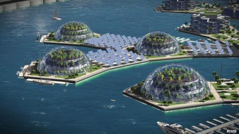 The Seasteading Institute's vision of an artificial floating island in French Polynesia.