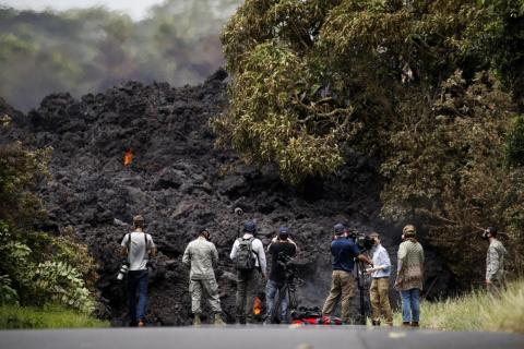 In some areas of the Big Island, lava is piled up over 40 feet high.