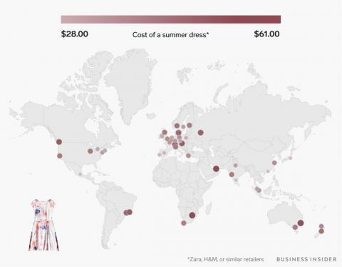 A summer dress from Zara, H&M, or a similar store ranges from $28 to $61.