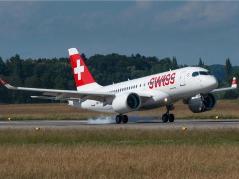 A SWISS Airbus A220-100.