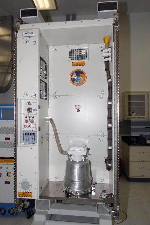 This waste and hygiene compartment was delivered to the International Space Station aboard space shuttle Endeavour. The Russian-built system separately channels liquid and solid waste.