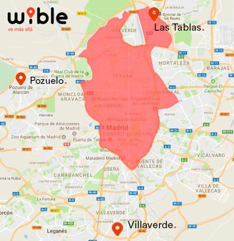 Zona en la que podrán estacionarse los coches de Wible.