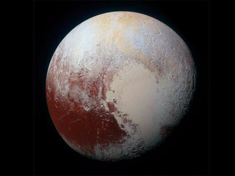 A 2015 photograph of Pluto taken by the New Horizons spacecraft.