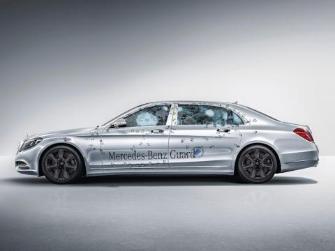 In addition, the ultra-thick laminated-glass windows have been coated with polycarbonate on the inside to prevent splintering. According to Mercedes, the Pullman Guard is certified at resistance class VR9 and blastproof to comply