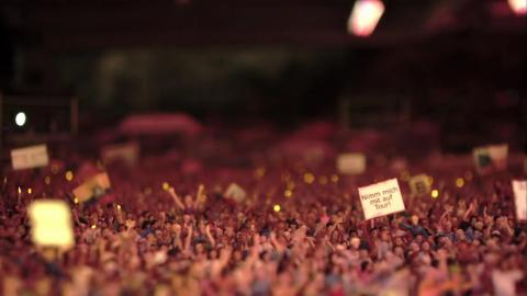 ... And here's what he's seeing: 21,000 model figurines dancing and enjoying the music.