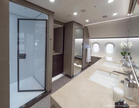 ... and a master bath with a double-size shower and heated marble floors.
