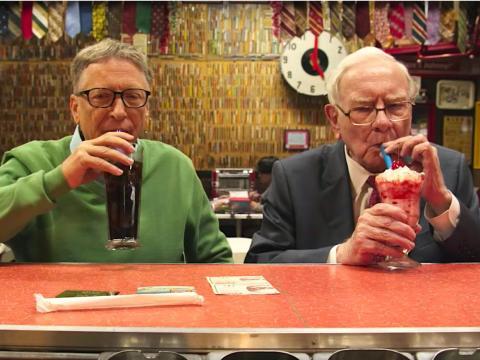 Bill Gates and Warren Buffett in a candy shop.