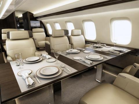 The cabin can be configured in a variety of ways, including a with full dining room ...