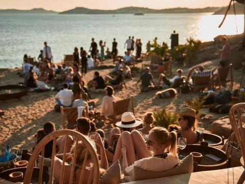Around sunset, Scorpios Beach Club fills up and revelers go until midnight. The club is known as the hottest and most expensive place in Mykonos. But for those rich or good-looking enough to get in and be treated like royalty, it