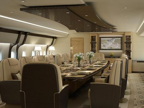 The dining room aboard a Boeing 747-8I private jet.