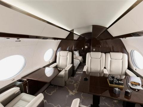 There's room for 19 passengers or sleeping room for 10. The G650ER boasts a range of more than 8,600 miles.