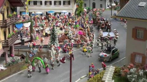 Here, you can see a rowdy Oktoberfest celebration. The Miniatur Wunderland features more than 200,000 tiny hand-painted citizens.