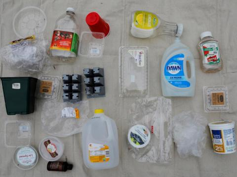 "Here's all the plastic they consumed during a week in May. ""When shopping, I do try to buy products with minimal packaging, but that's challenging too, everything is packaged,"" Brandy said."
