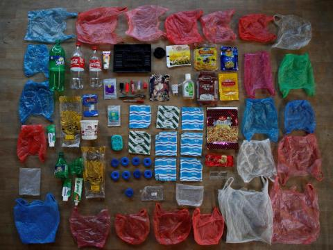 Here's the plastic waste her family generated in a week.
