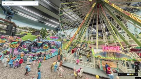 Here's the view of the fair from Google's mini Street View car.