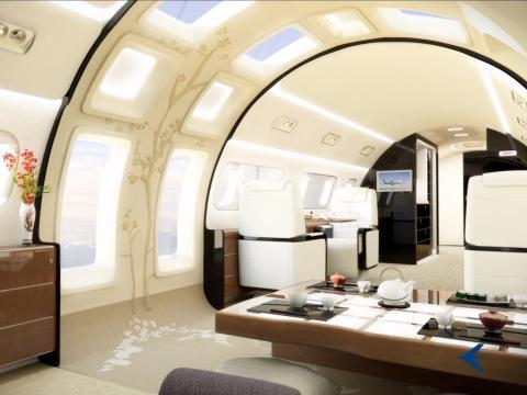 If you are extra bold, however, Embraer's design chief, Jay Beever, will gladly offer you some of his truly over-the-top interior concepts — like the Kyoto Airship and its astonishing skylights ...