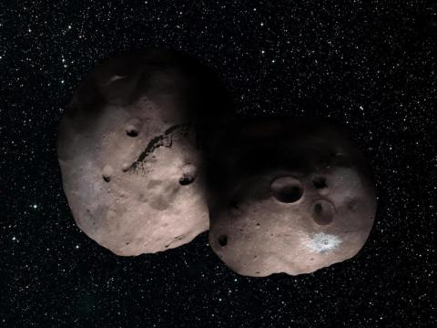 An illustration of Ultima Thule, also known as Kuiper Belt object 2014 MU69.