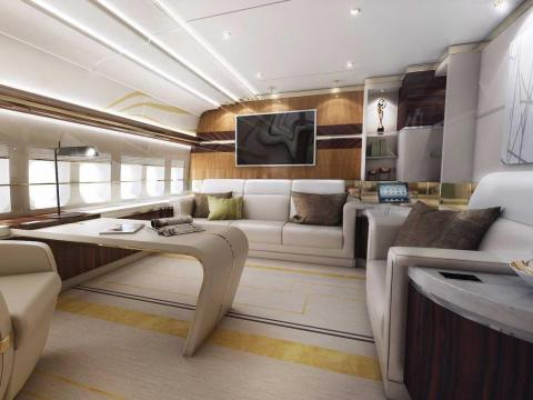 The interior boasts nearly 4,800 square feet of space, roughly the same as your average McMansion. The plane has a full office ...