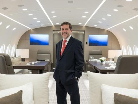 It's the brainchild of Kestrel Aviation Management's Stephen Vella. Since this is the first Boeing Dreamliner purpose-built to be a private jet, the interior, and its fittings had to be custom engineered from scratch.