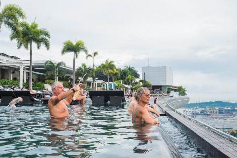 If you plan on getting that perfect Instagram photo in the world's largest rooftop infinity pool, beware: Everyone else is trying to do the same thing. It's exhausting.